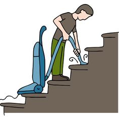 An image of a man cleaning stairs.