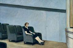 "Edward Hopper Intermission 1963 Oil on canvas; Nice article on Hopper by Alain de Botton ""The Pleasure of Sadness"""