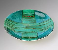 Turquoise Strata Bowl by Lynn Latimer: Art Glass Bowl available at www.artfulhome.com