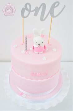 Miffy Cake for a birthday girl. One year old! Pink and white.
