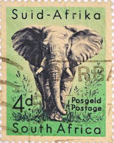 stock photo : SOUTH AFRICA-CIRCA A stamp printed in the South Africa, depicts animals from Kruger National Park, the African Elephant, circa 1954 Elephant Love, Elephant Art, African Elephant, Vintage Elephant, Old Posters, Posters Vintage, Travel Posters, Art Postal, Postage Stamp Art