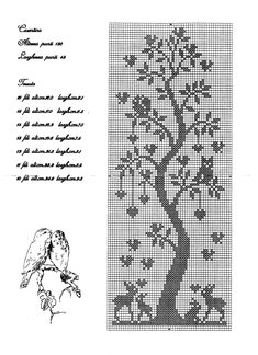 Cross stitch pattern, tree, owl, bunny.