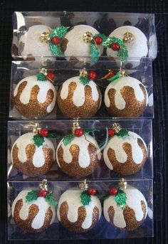 12 x Christmas Pudding Glittery Tree Decorations Baubles