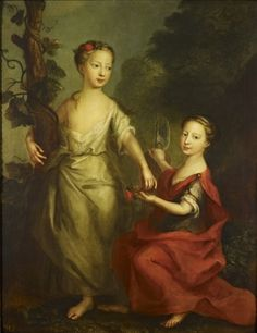 """""""Princesses Anne and Amelia"""" (daughters if George II) by Martin Maingaud (1718) in the Royal Collection, UK - From the curators' comments: """"Anne stands in Arcadian dress with an arm round a tree-trunk encircled by a vine. Amelia kneels and offers her a flower, dressed in Roman costume and holding the fasces (sticks bound together with an axe) the symbol of Justice and authority."""""""
