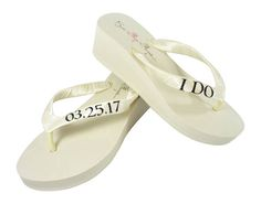 Black Glitter and Ivory or White I Do Wedding Date Wedge Flip