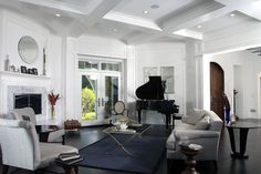 Simple coffered ceilings living room transitional with patio doors side table grand piano