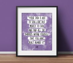 "Love Poster, (VARIOUS COLORS!) ""Seek Love's Barriers"", Rumi quote, Words of wisdom, Rumi Print, Watercolor Quote, Watercolor Poster by SpiritualWiseGuys on Etsy https://www.etsy.com/listing/220137837/love-poster-various-colors-seek-loves"