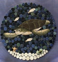 Sea Turtle Mosaic Back Splash, Shower insert or Wall Art. Handmade Tile Mosaics customized for you! These creations can be used for kitchen back splashes, Shower insert, wall art or wherever you choose. Each one is individually cut from ceramic clay, kiln fired and glazed. No two