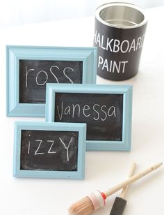 Change up your decor with miniature chalkboards made from cardboard and chalkboard paint. Find the DIY project in GreenCraft Autumn 2012.
