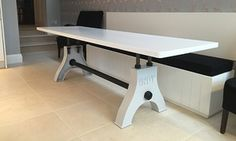Indy Table in Light Grey Industrial Style Dining Table, Industrial Furniture, Rustic Style, Modern Rustic, Conference Table, Indie, Steel, Interior Design, Dining Tables