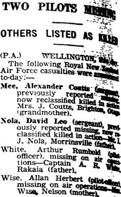 Auckland Star 26/05/1941 Killed In Action, Royal Air Force, Auckland, Family History, Star, Stars, Genealogy