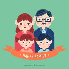 Cute family illustration Free Vector