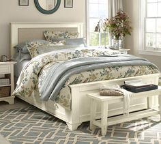 Cynthia Upholstered Storage Bed | Pottery Barn Great extra storage ~ always needed in small apartments