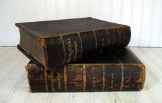 Antique Books Encyclopaedia of Chemistry - Vintage Circa 1879 Set of 2 OverSized References - Large Pair Prop Decorative Leather Bound Tomes