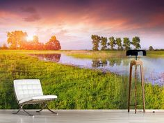 Foto #Tapete Sonnenuntergang am See Outdoor Chairs, Outdoor Furniture, Outdoor Decor, Park, Home Decor, Photos, Self Adhesive Wallpaper, Beautiful Landscapes, Sunset