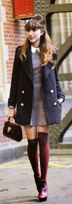 Virgit Canaz is wearing a tartan dress from InLoveWithFashion, sweater from Choies, coat from Zara, over the knee socks and bag from New Look and the boots are from Burberry prorsum Mod Fashion Trend Love this style shoes and socks with a peter pan neckline