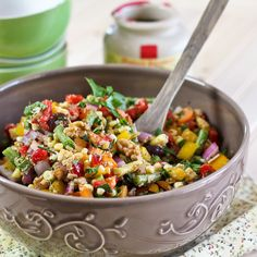 Full Spectrum Veggie Salad -- you could use this half-and-half with a grain (hulled barley, quinoa, wheat berries, brown rice...) and/or add beans (black, garbanzo)  or of course just eat your yummy veggies!