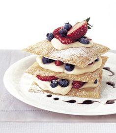 Strawberry-Blueberry Napoleons Recipe | Epicurious.com