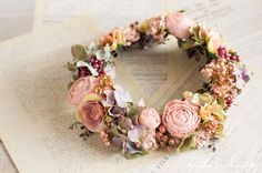 ピンク×パープルグリーン アンティーク クリップコサージュ 花冠(8パーツ) | Online store – ミルラシュエット
