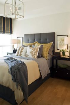 Love the bed frame and colors. Design by Kimberley Seldon - http://kimberleyseldon.com