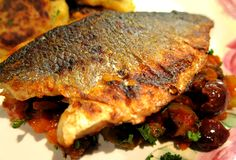 Sea bass and Caponata - This Caponata recipe is from Complete Italian Food by Antonio Carluccio - www.fishisthedish.co.uk/recipes/sea-bass-and-caponata