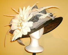 Kentucky Derby Hat, Very Large Brim, White Jumbo Daisy, Award Winning Hat Design