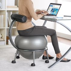 FitBALL Balance Ball Chair at Brookstone—Buy Now! from Brookstone. Saved to Things I want as gifts. Ball Chair, Take My Money, Cool Gadgets, Amazing Gadgets, Future Gadgets, Things I Want, Awesome Things, Awesome Food