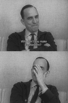"Ingmar Bergman laughs like ""could i be john ford? Bergman Movies, Bergman Film, Ingmar Bergman, Cinema Quotes, Movie Quotes, Uma Thurman, Tarzan, Great Films, Documentary Film"