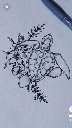 Ocean Tattoos, Flower Tattoos, Body Art Tattoos, Small Tattoos, Sleeve Tattoos, Tatoos, Sea Tattoo Sleeve, Sea Turtle Tattoos, Hawaiian Turtle Tattoos