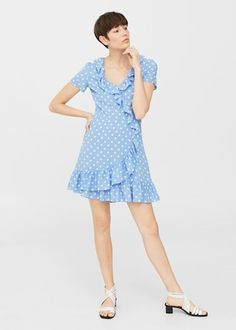 Polka-dot ruffled dress | MANGO