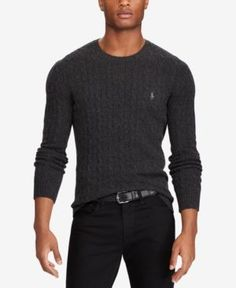Polo Ralph Lauren Men's Cable-Knit Wool and Cashmere Blend Sweater, Created for Macy's - Dark Granite Heather L