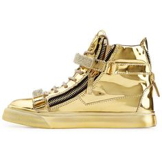 Giuseppe Zanotti Metallic Leather High-Top Sneakers (330 KWD) ❤ liked on Polyvore featuring shoes, sneakers, high top leather shoes, metallic sneakers, lace up high top sneakers, high top zipper sneakers and giuseppe zanotti shoes