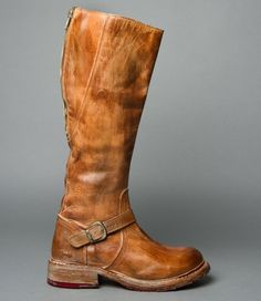 GLAYE TAN RUSTIC - Distressed Leather Zipper Adjustable Calf Women's Boot BED STU