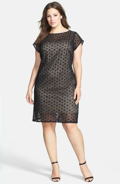 Sheer Floral Lace Sheath Dress (Plus Size)