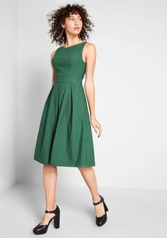 Always Polished Fit and Flare Dress - This fit and flare dress from our ModCloth namesake label promises a refined look at a moment's notice! Outfitted with a bateau neckline, classic pleats, and essential pockets all crafted from a stretchy-yet-structured millenium fabric, this green A-line is on-call to impress.