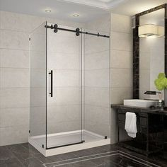 """Aston Langham 48"""" x 35"""" x 77.5"""" Completely Frameless Sliding Shower Enclosure with Base Drain Location: Right Drain"""