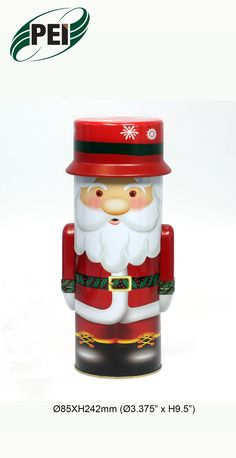 Santa Claus w Bag of Toys Round Tin Storage Container Box w Lid Christmas Decor