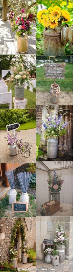 rustic country wedding ideas - milk churn wedding decor ideas / http://www.deerpearlflowers.com/rustic-country-milk-jug-wedding-ideas/