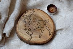 Rustic Christmas deer coaster Reindeer decor wood drink coaster coffee cooking stocking stuffer Kitchen decor Wedding decoration Christmas favors country decor cottage decor farmhouse decor