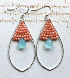 Aqua Peach Hoop Earrings Sterling Silver by BellaAnelaJewelry