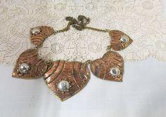 Vintage Large Heart Necklace Copper Brass Silvertone by KansasKardsStudio on Etsy