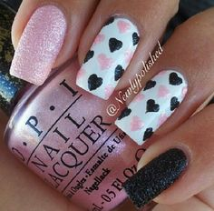 Pink and black heart nails