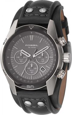 154235aab64 Fossil Men s CH2586 Sports Chronograph Leather Cuff Black Dial Watch  lt    94.95  gt  Fossil