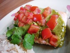 """""""Roasted Salmon with Cilantro Pesto"""" """"This has been one of my favorite salmon recipes for a long time.  It's quick, easy, healthy and delicious!  The flavors of the cilantro and salmon go really well together."""""""