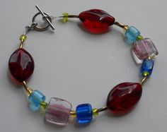 Original Handmade Red, Pink and Blue Glass and Acrylic Beads with Twisted Bugle Beads and Toggle Clasp  Size - 9 1/4