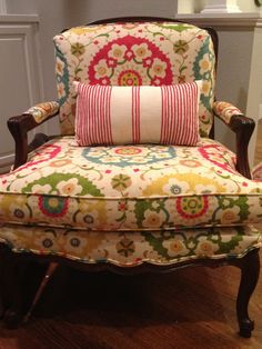 Holly Mathis Interiors: striped pillow from target - love the floral pattern