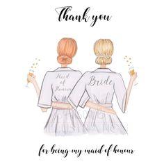 #Thankyoucard #personalisedbridesmaid #customskincolour #Bridesmaidcard #maidofhonourcard #maidofhonor #bridalpartyrobes #brideswmaidsketch #semicustomcard by AlisonBillustrations on Etsy