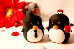 Penguin Wedding Cake Toppers by Genialskies on Etsy