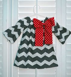Gray  chevron   Red  Detachable Bow  Peasant by JellyPopChick, $25.99