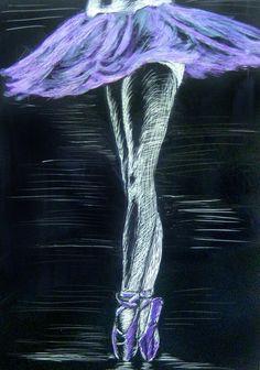 5x7 Scratchboard Ballet dancer art by IlCigno on Etsy, $15.00